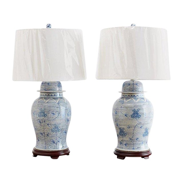 Chinese Porcelain Blue and White Ginger Jar Lamps For Sale