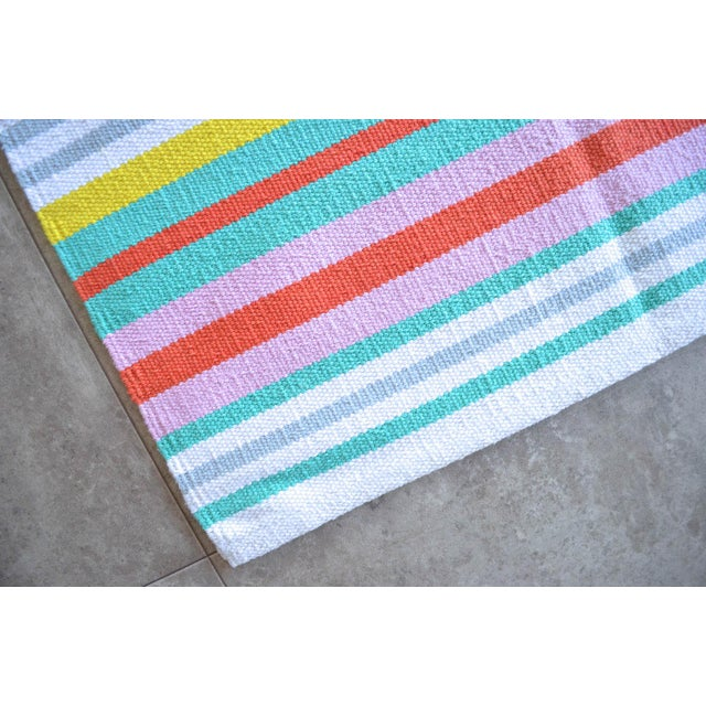Hand-Made Rug Striped Zara Home Cotton Runner Rug - 2′4″ × 6′8″ For Sale In Raleigh - Image 6 of 9