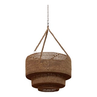 Jute Woven Drum Chandelier For Sale