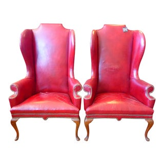 Vintage Red Leather Wingback Chairs With Nailhead Detail and Generous Proportions- Pair
