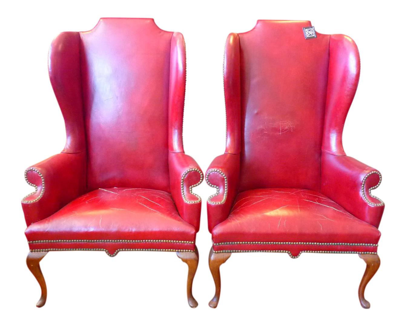 Vintage Red Leather Wingback Chairs With Nailhead Detail And Generous  Proportions  Pair