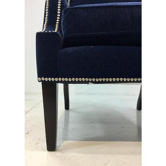Stylish modern Thomasville Blue Velvet Chandon Club Chair, black legs and nickel nailhead detail, showroom floor sample,...