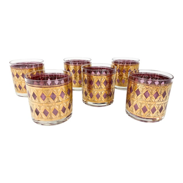 Vintage Pink/Purple and Gold Cocktail Glasses - Set of 6 For Sale