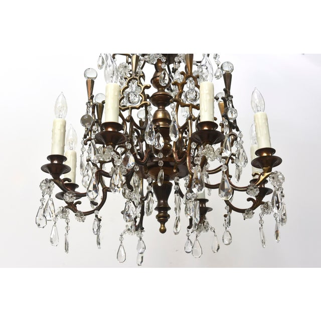 Bohemian Bronze and Crystal Eight Light Chandelier For Sale In Boston - Image 6 of 6