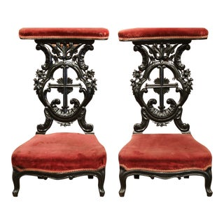 French Louis XV Hand Carved Walnut Prayer Chairs with Blackened Finish - A Pair