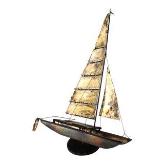 Torch Cut Brass Catamaran Sculpture