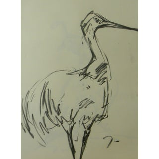 Jose Trujillo Original Crane Bird Signed Charcoal on Paper Sketch Drawing For Sale