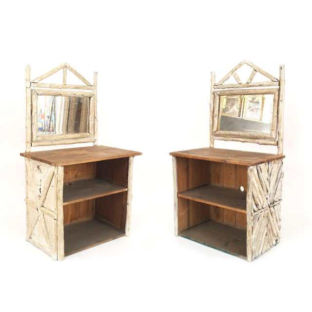 Rustic American Adirondack (1920s) birchwood and bark dresser cabinets with 2 open shelves under a pine top with a mirror...