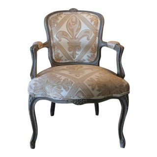 Louis XV Painted and Upholstered Armchair For Sale