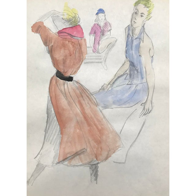 Figurative Mid-Century Figure Study Watercolor Drawing C. 1950 For Sale - Image 3 of 3