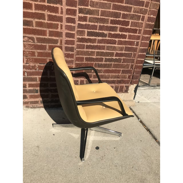 Mid-Century Modern Mid Century Modern Steelcase Tan Leather Swivel Office Chair Newly Upholstered For Sale - Image 3 of 8