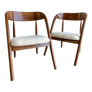 Curved Compass Side Chairs- A Pair For Sale