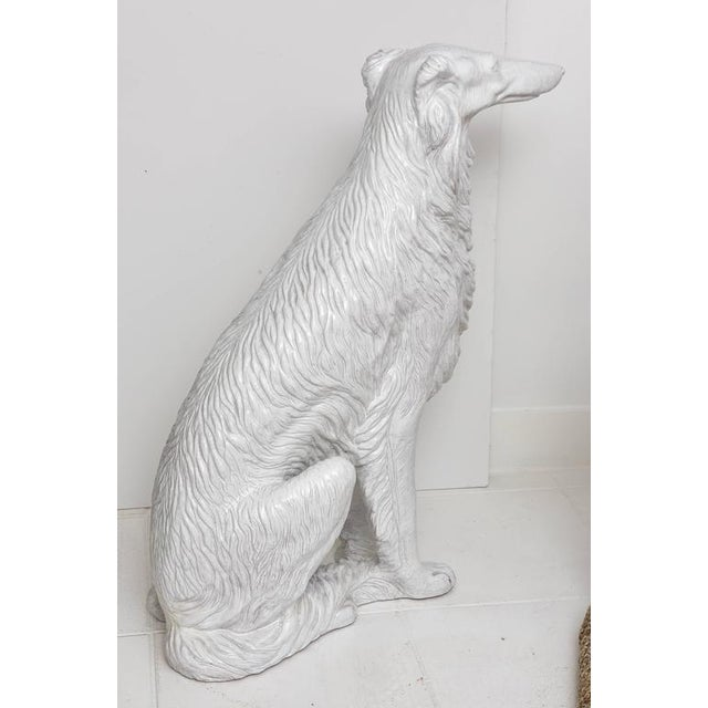 Life-Size Borzoi in Italian White Glazed Terracotta For Sale - Image 10 of 10