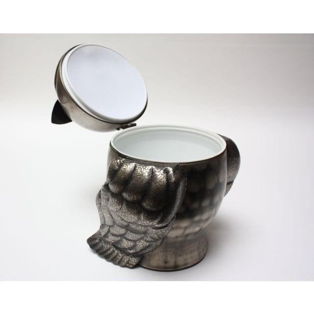 Mid-Century Modern Vintage Japanese Pewtertone Ice Bucket / Cookie Jar For Sale - Image 3 of 13