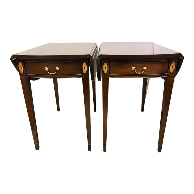 20th Century Federal Hickory Chair Mahogany Inlay Drop Leaf End Tables - a Pair For Sale