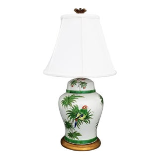 Vintage Parrot and Palm Tree Ceramic Ginger Jar Table Lamp-Mid Century Modern Hollywood Regency Boho Tropical Coastal Beach Bird Bamboo Chinese Asian
