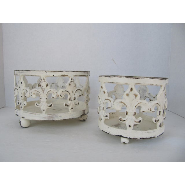 Country Distressed Fleur de Lis Candle Holders - A Pair For Sale - Image 3 of 4