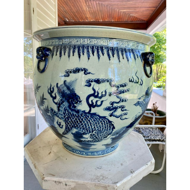Large Vintage Blue & White Dragons Asian Fish Bowl Planter Pot For Sale In New York - Image 6 of 12