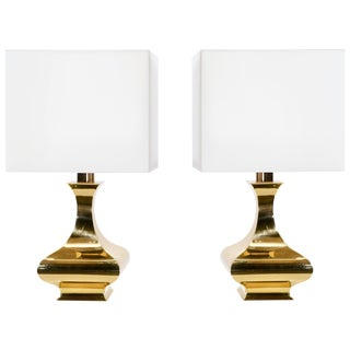 Pair of Maria Pergay Brass Table Lamps, 1970s For Sale