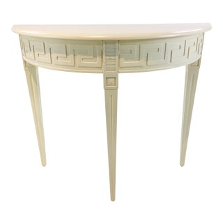 Ave Home Modern Ivory Wood Athena Demi-Lune Console Table For Sale