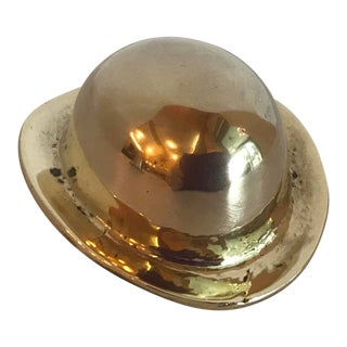 Vintage Brass Derby Hat Paperweight For Sale