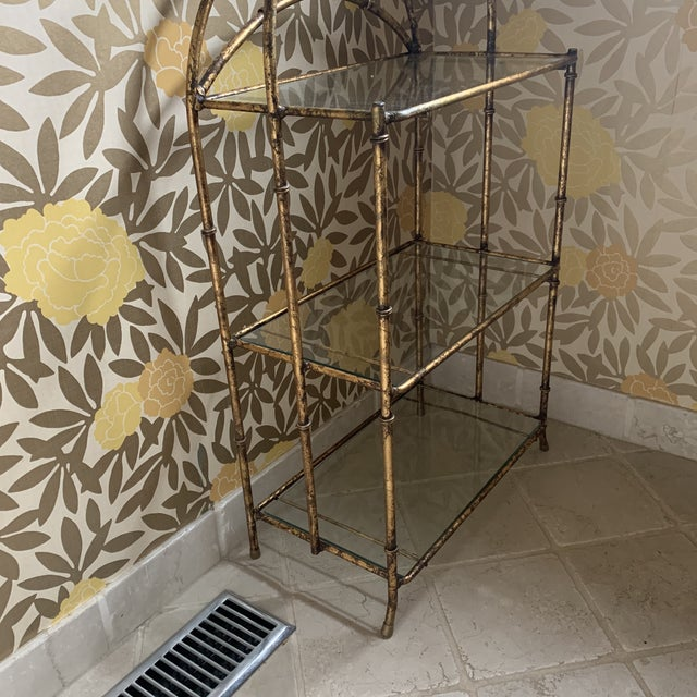 Gilt Metal Faux Bamboo Etagere For Sale - Image 4 of 12
