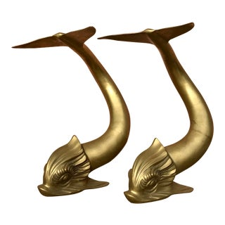Vintage Dolbi Cashier Dolphin Fish Sculptures - a Pair For Sale