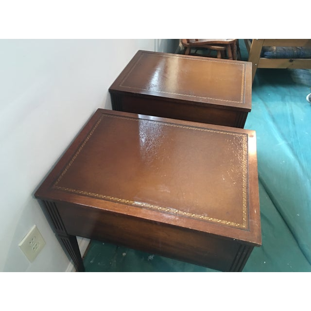 """Leather Top """"Neptune"""" Matching Side Tables - 2 - Image 4 of 5"""