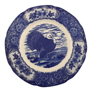 Vintage Blue & White Turkey Plate