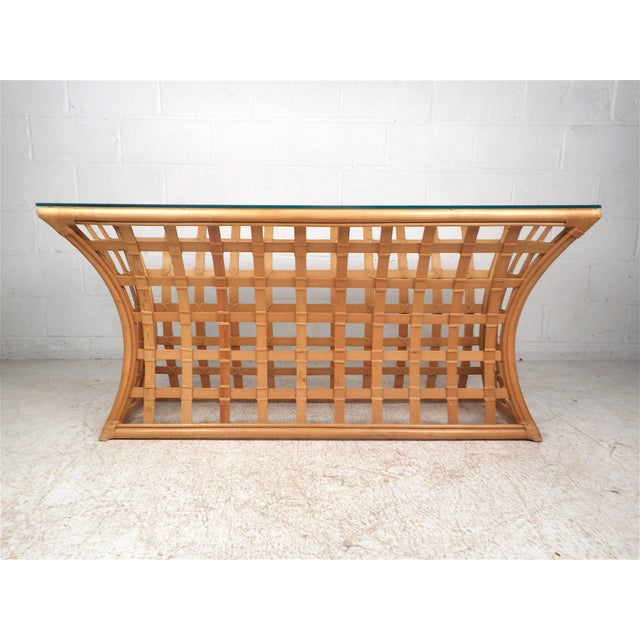 Mid-Century Modern Vintage Modern Bamboo and Glass Console Table For Sale - Image 3 of 12