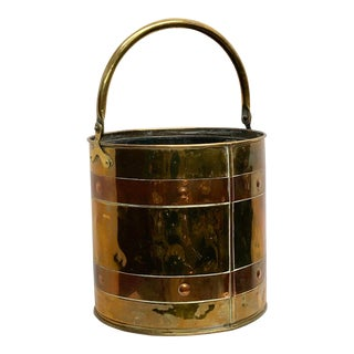 Antique English Copper & Brass Bucket For Sale