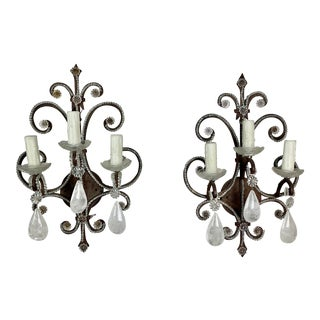 Pair of 3-Light Rock Crystal Wrought Iron Sconces For Sale