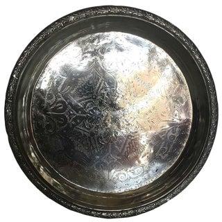 Brad Vintage Moroccan Silver Tray For Sale