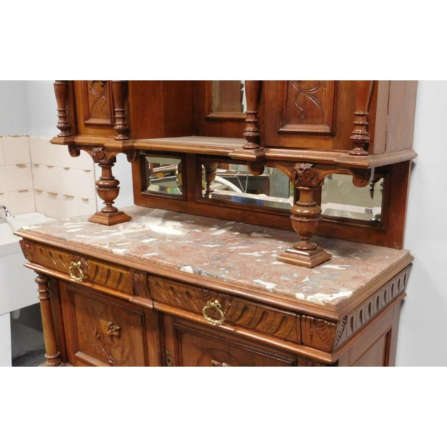 Late 19th Century Antique Carved Walnut French Renaissance Hunt Board Marble Top Dining Room Buffet W