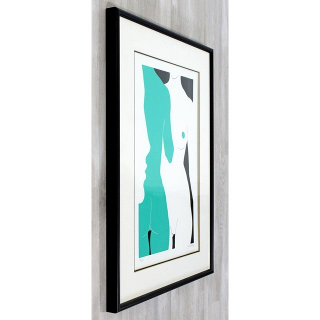 "Mid-Century Modern ""The Nudes"" Green Framed Lithograph Signed Dated 1979 29/325 For Sale - Image 4 of 7"