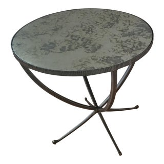 Bernhardt Carlow Mirrored Glass Top Round Side Table For Sale