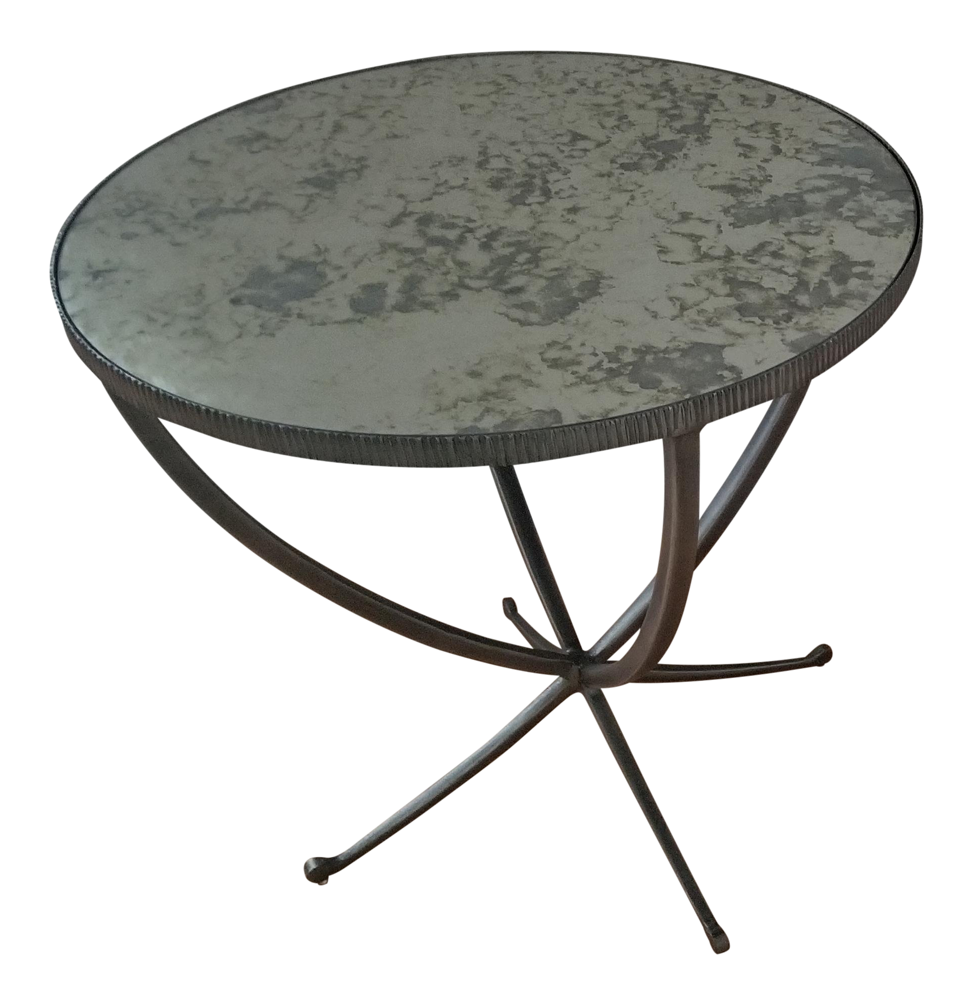 Bernhardt Carlow Mirrored Glass Top Round Side Table