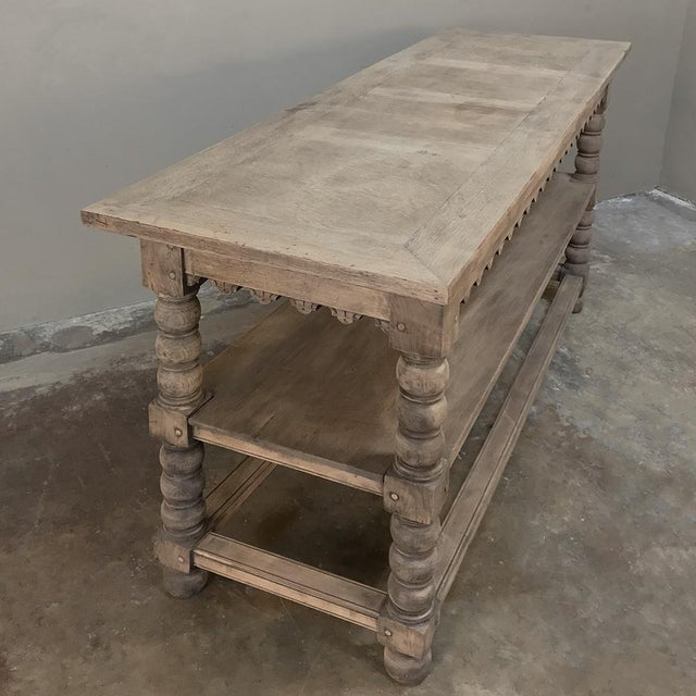 Early 19th Century Rustic Renaissance Stripped Oak Counter For Sale - Image 11 of 13