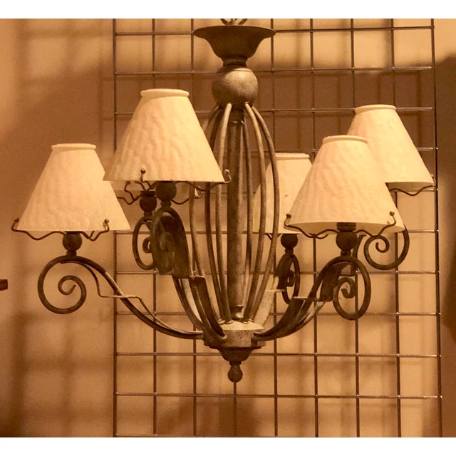 Vintage Transitional Patinated 6 Arm Chandelier With Shades For Sale - Image 4 of 6