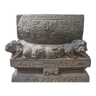 Pair of Chinese Qing Dynasty Carved Limestone Pedestals For Sale