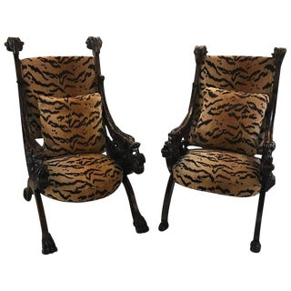 Late 19th Century Heavily Carved Italian Renaissance Style Throne Chairs- A Pair For Sale