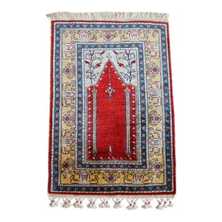 Hank Knotted Turkish Silk Rug. Masterpiece Small Rug New - 1′7″ × 2′4″ For Sale