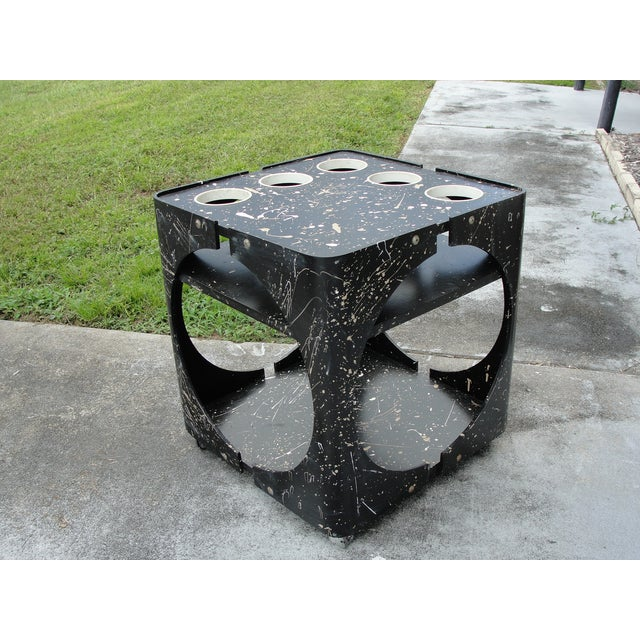 Abstract Geometric Rolling Bar Cart/Table - Image 2 of 9