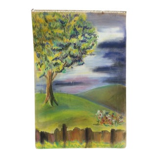 """Late 20th Century """"Colorful Tree"""" Original Painting on Paper For Sale"""