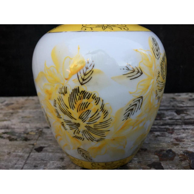 Yellow and White Floral Vase For Sale - Image 6 of 8