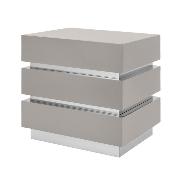 Not Yet Made - Made To Order Banded Nightstand in Taupe / Nickel - Flair Home for The Lacquer Company For Sale - Image 5 of 5