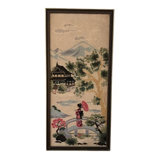 Midcentury Asian Chinoiserie Crewel Work Wall Art For Sale
