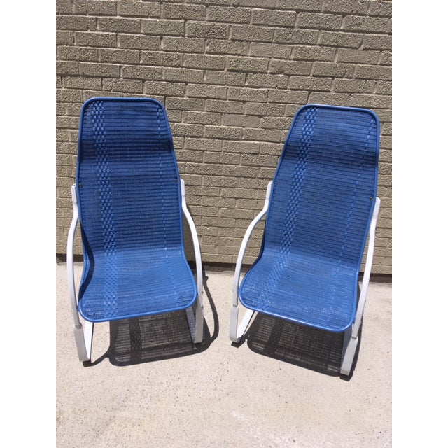 Blue Vintage Lloyd & Flanders Perma Wicker Bounce Chairs - a Pair For Sale - Image 8 of 8