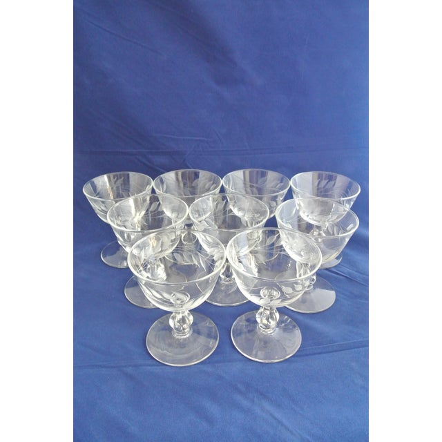Antique Etched Crystal Champagne Coupes - Set of 9 - Image 2 of 11