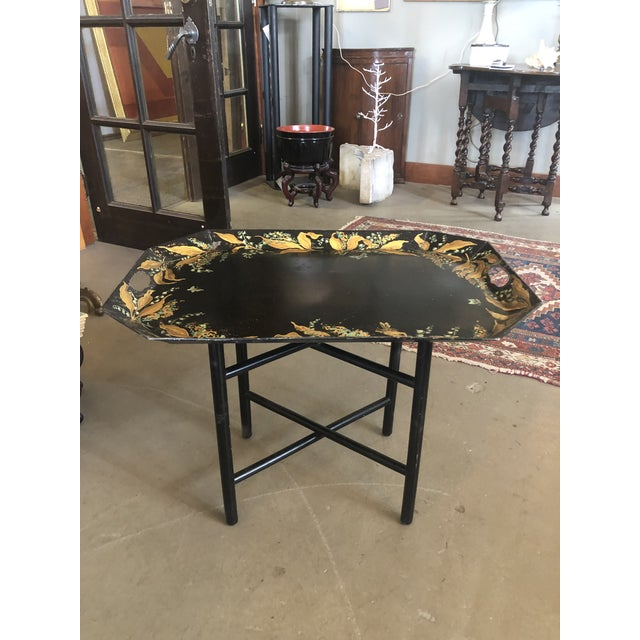 1960s Tole Butler Tray and Stand Flora Fauna Butterfly Motif For Sale - Image 13 of 13